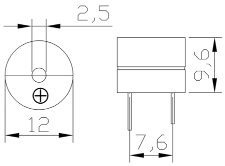 Buzzer z generatorem 12V 85db - Buzzer 12065G