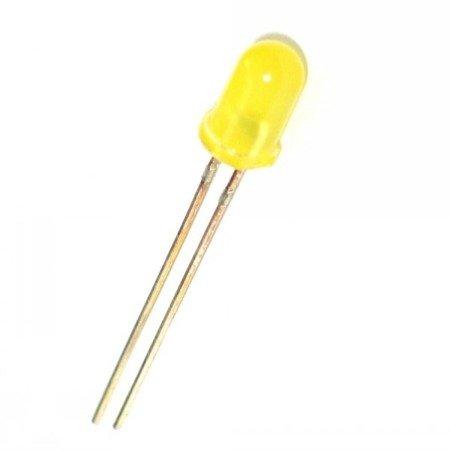 Dioda LED 5mm żółta dyfuzyjna 20mA - 10 szt