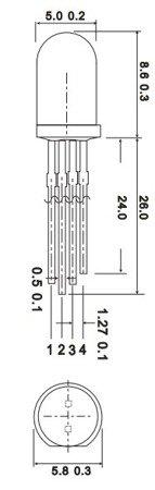 Dioda LED RGB 5mm - wspólna Anoda, matowa - ARDUINO - 10 szt