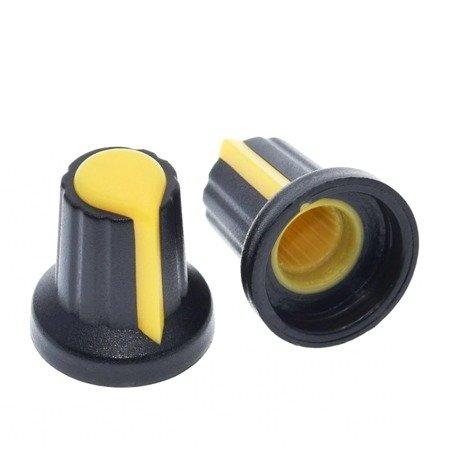 Gałka do Potencjometru - oś 6mm - wys. 17mm - pokrętło Yellow 1 szt