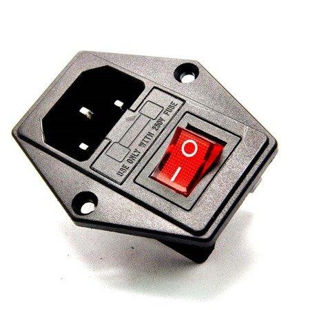 Gniazdo AC IEC  15A - 250V - męskie - do obudowy na zatrzask