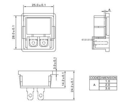 Gniazdo zasilające AC IEC męskie - ósemka - do obudowy na zatrzask z przełącznikiem