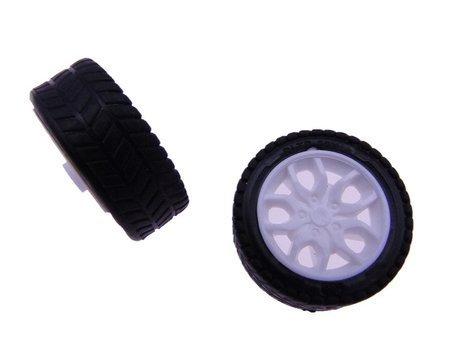 Koło 30x11mm - do robotów i pojazdów DIY - czarna opona z białą felgą