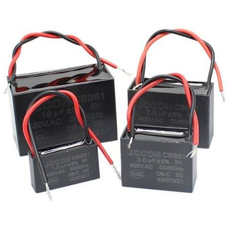 Kondensator rozruchowy CBB61 2.0uF 450VAC do silników - z przewodami