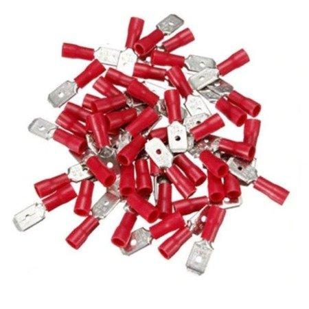 Konektor izolowany płaski męski - 6.3mm - czerwony - na kabel 1-2.5mm2 - 10szt