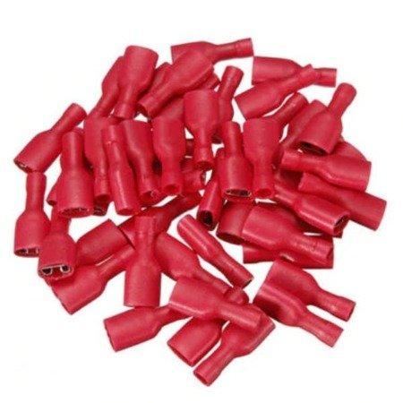 Konektor izolowany płaski żeński - 6.3mm - czerwony - na kabel 1-2.5mm2 - 10szt