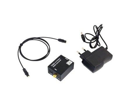 Konwerter optyczny sygnału audio - DAC Coax/ Toslink - 2xRCA USB
