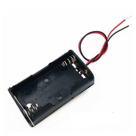 Koszyk na baterie 2xAA (R6 1.5V) z wyłącznikiem hebelkowym - koszyczek z przewodami