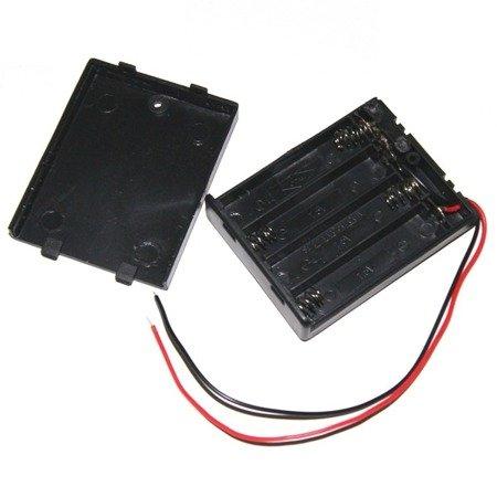 Koszyk na baterie 4xAAA 1,5V - koszyczek z pokrywką i wyłącznikiem