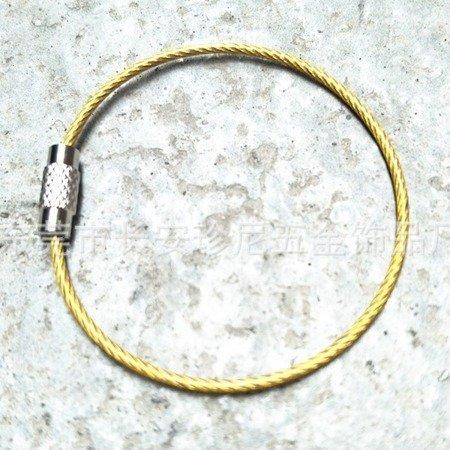 Linka do Kluczy - Zawieszka - Brelok Stalowy zakręcany - 15cm - żółty