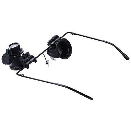 Lupa okulary 20x15mm - z oświetleniem - zegarmistrzowska