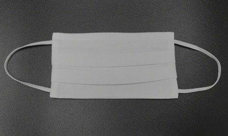Maseczka na twarz trójwarstwowa - biała - wielokrotnego użytku - bawełna 100%