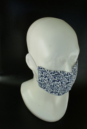 Maseczka na twarz trójwarstwowa - wzór1 - wielokrotnego użytku - bawełna 100%