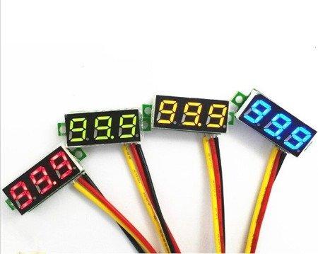 Miernik woltomierz  0-100V - 0,28' z przewodami - LED żółty
