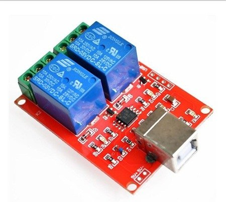 Moduł 2 przekaźników 10A/230V sterowanych z USB - przekaźniki na USB
