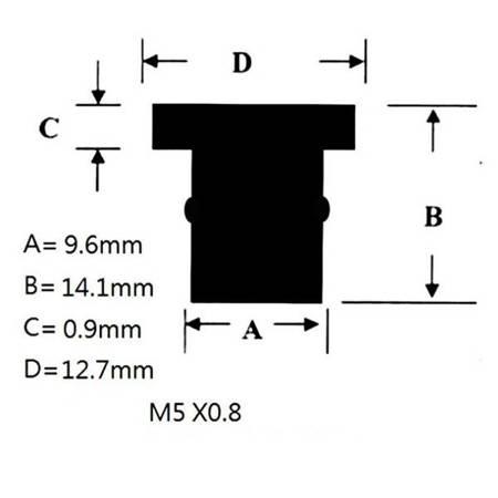Nakrętka gumowa do szyb i owiewek M5x0,8 - nakrętki tłumiące drgania