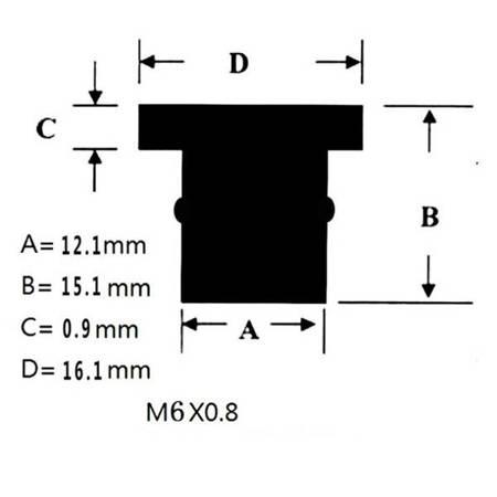 Nakrętka gumowa do szyb i owiewek M6x0,8 - nakrętki tłumiące drgania