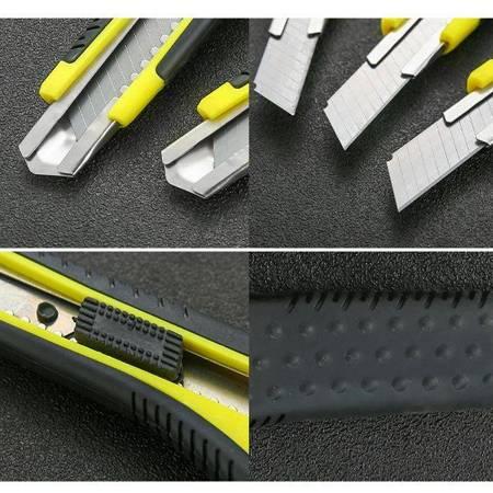Nożyk uniwersalny z wysuwanym ostrzem 18mm - czarno-żółty - nóż do tapet papieru