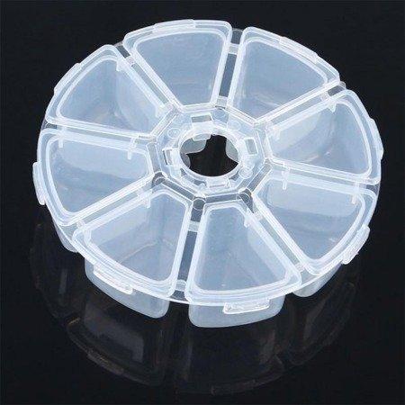 Organizer okrągły - 8 przegródek - zamykany - 105x27mm - pojemniki na drobiazgi