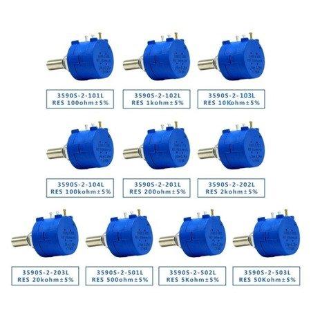 Potencjometr precyzyjny - wieloobrotowy - 1K Ohm - 2W - 3590S-2-102L