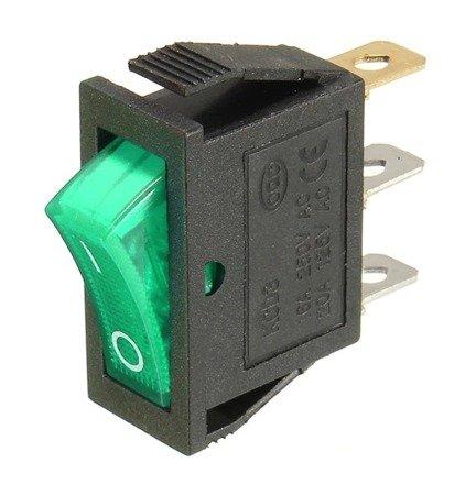 Przełącznik klawiszowy KCD3-101N - ON/OFF - 3 PIN - zielony