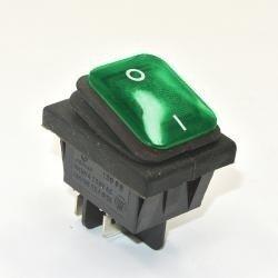 Przełącznik klawiszowy KCD4-B - 16A/250V - Podwójny - ON/OF - IP65 - zielony