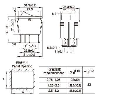Przełącznik kołyskowy KCD8-212  - przełącznik ON/OFF - 220V - 6 PIN