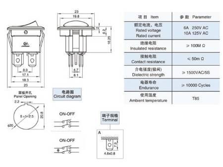Przełącznik kołyskowy - SMRS201R - 1A/250V - podwójny - okrągły - ON/OFF - czerwony