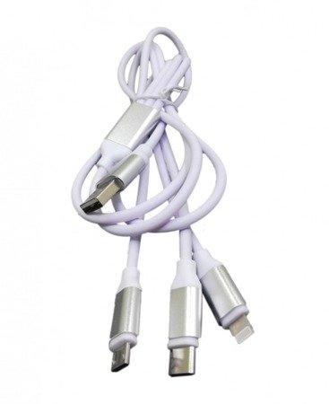 Przewód USB 3w1 - 90cm - IPhone/USB-C/MicroUSB