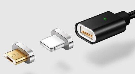 Przewód USB magnetyczny - 2 końcówki - Micro USB, Iphone - Nylonowy - 100cm