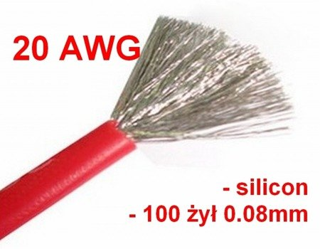 Przewód silikonowy miedziany ocynowany 20AWG - 100 żył - 0,5mm2 - czerwony - elastyczny