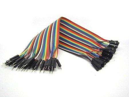 Przewody kable zworki DuPont M-F 40 szt 20cm - męsko-żeńskie