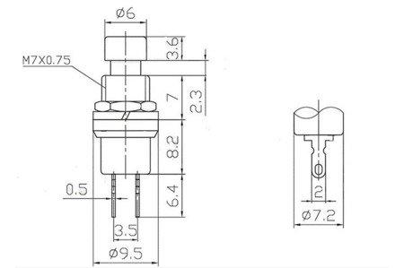 Przycisk chwilowy PBS-110 - czerwony - 250V-1A / 125V-3A  - 7mm - okrągły