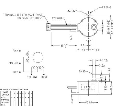 Silnik krokowy 28BYJ-48 z przekładnią - 5V 0.3A 0,03Nm - Arduino