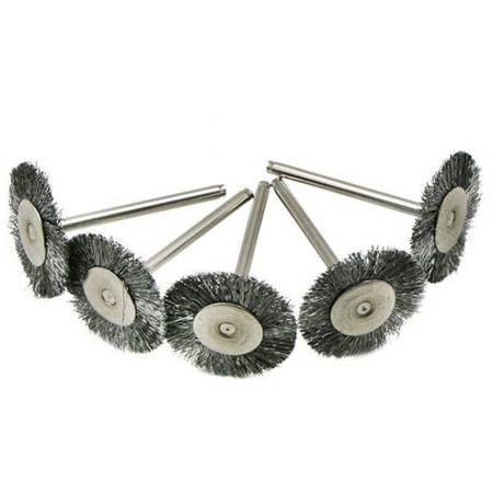 Szczotka druciana do szlifowania 25mm - okrągła - do dremela, mini gumówki