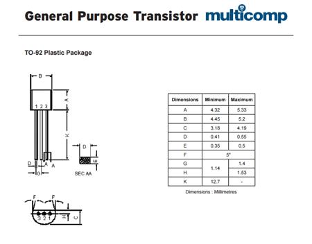 Tranzystor BC547B - 10 szt - bipolarny tranzystor NPN 0,1A 45V - TO-92
