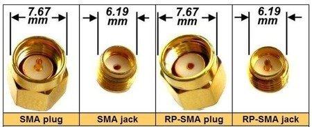 Wtyk RP-SMA jack - złącze SMA proste do druku (do lutowania)