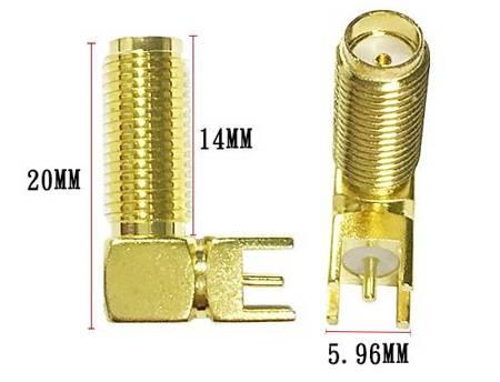 Wtyk SMA jack - 14mm - złącze kątowe 90º do druku (do lutowania)