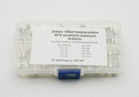 Zestaw 100szt. bezpieczników WTA - szybkich - szklanych (5x20mm) - 10 rodzajów