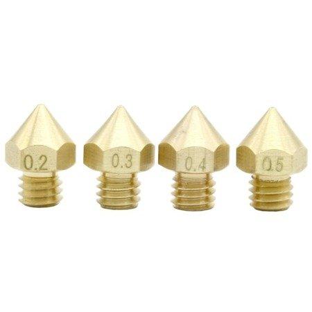 Zestaw 4x Dysz 0,2/0,3/0,4/0,5 mm M6 - Filament 1,75mm - Dysza RepRap E3D V5 V6