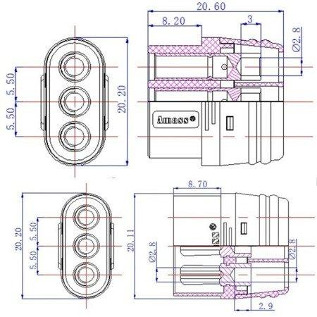 Złącze MR60-M -  Konektor Amass - wtyk + gniazdo - złącze z osłonami do połączeń ESC-Silnik