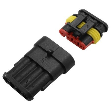 Złącze Superseal 4 PIN komplet - wtyk+gniazdo 4PIN - złącze samochodowe - hermetyczne - szczelne
