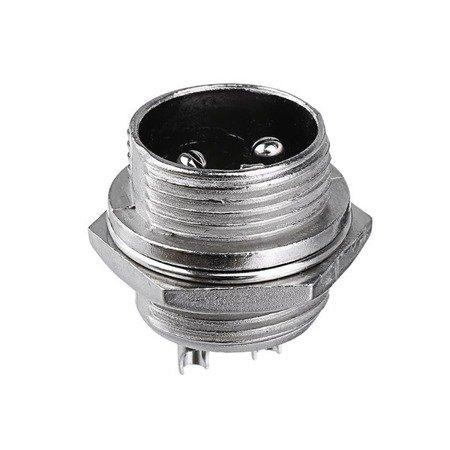 Złącze przemysłowe zakręcane GX16 2-PIN - wtyk z gniazdem
